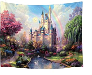HVEST Castle Tapestry Trees and River in Fantasy Forest Wall Hanging Fairy Tale Tapestries for Kids Bedroom Living Room Dorm Party Wall Decor,80Wx60H inches