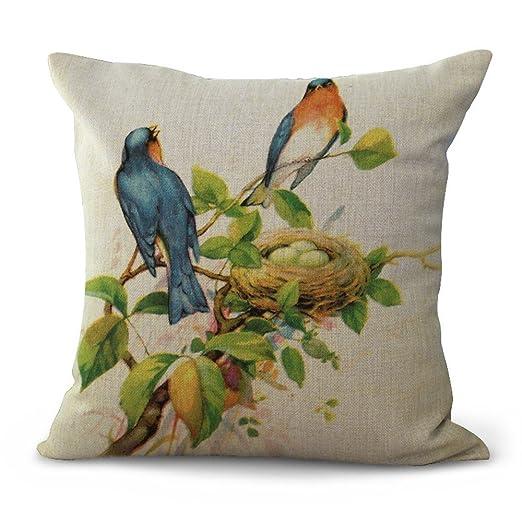 JINGXINSTORE Acuarela Pájaro Vintage Algodón impreso hojas ...