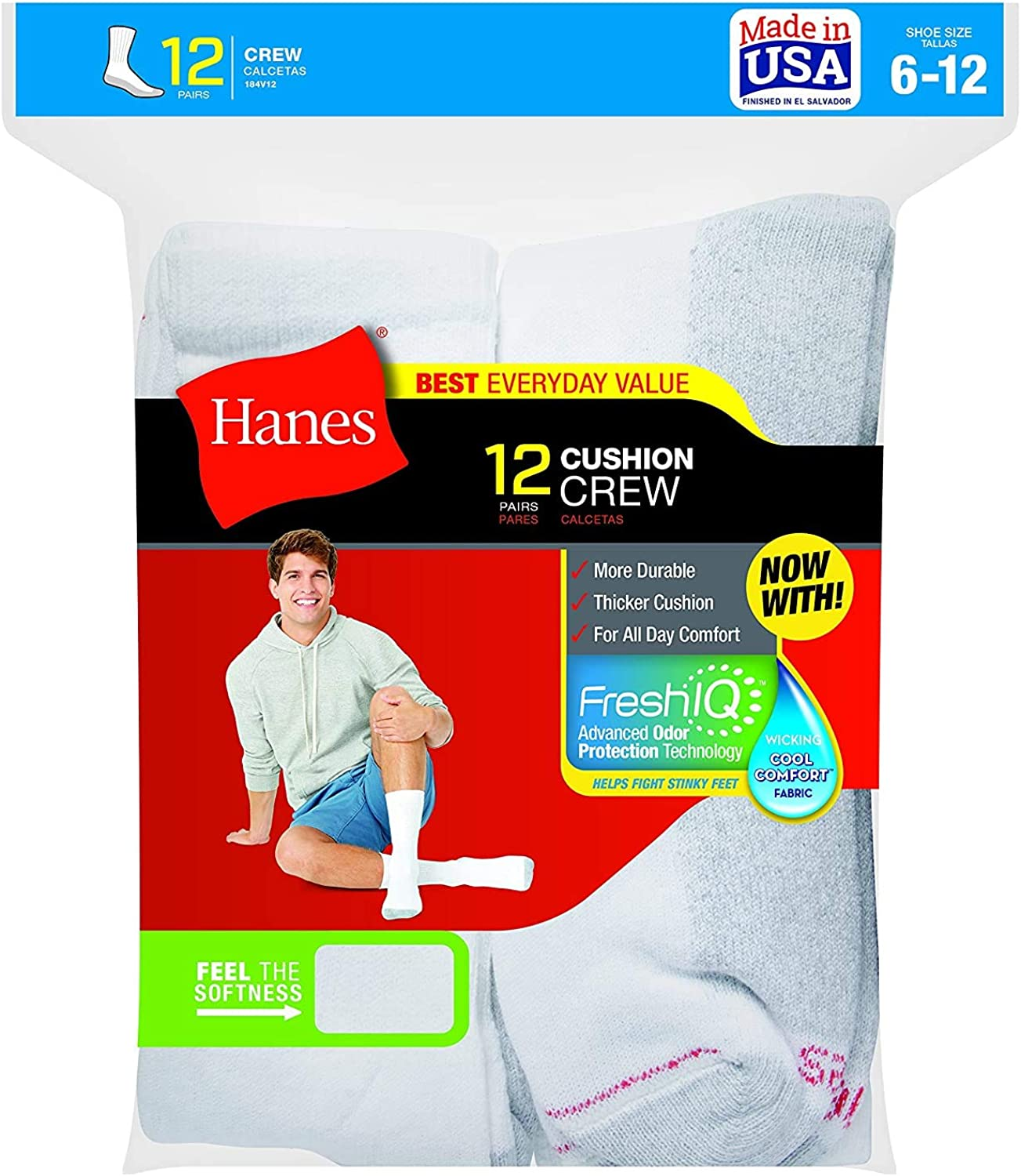 Hanes Men's Cushion Crew Sock (2Pk (12 Pairs) 10-13, White)