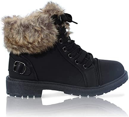 LADIES OUTDOOR WALKING COMFORT GRIP SOLE WINTER ANKLE BOOTS WOMENS SHOES SIZE