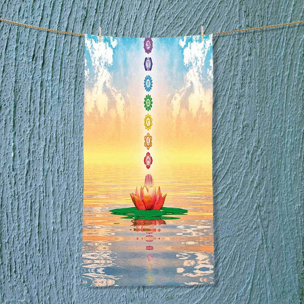 SOCOMIMI Soft Luxury Towel Chakra Icons in Sky from a Water Lily Lotus Flower in Sea Sacred Absorbent Ideal for Everyday use by SOCOMIMI