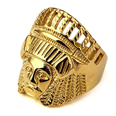 Gudeke Indian Chief Hip Hop Ring Bands Wedding Engagement Rings For