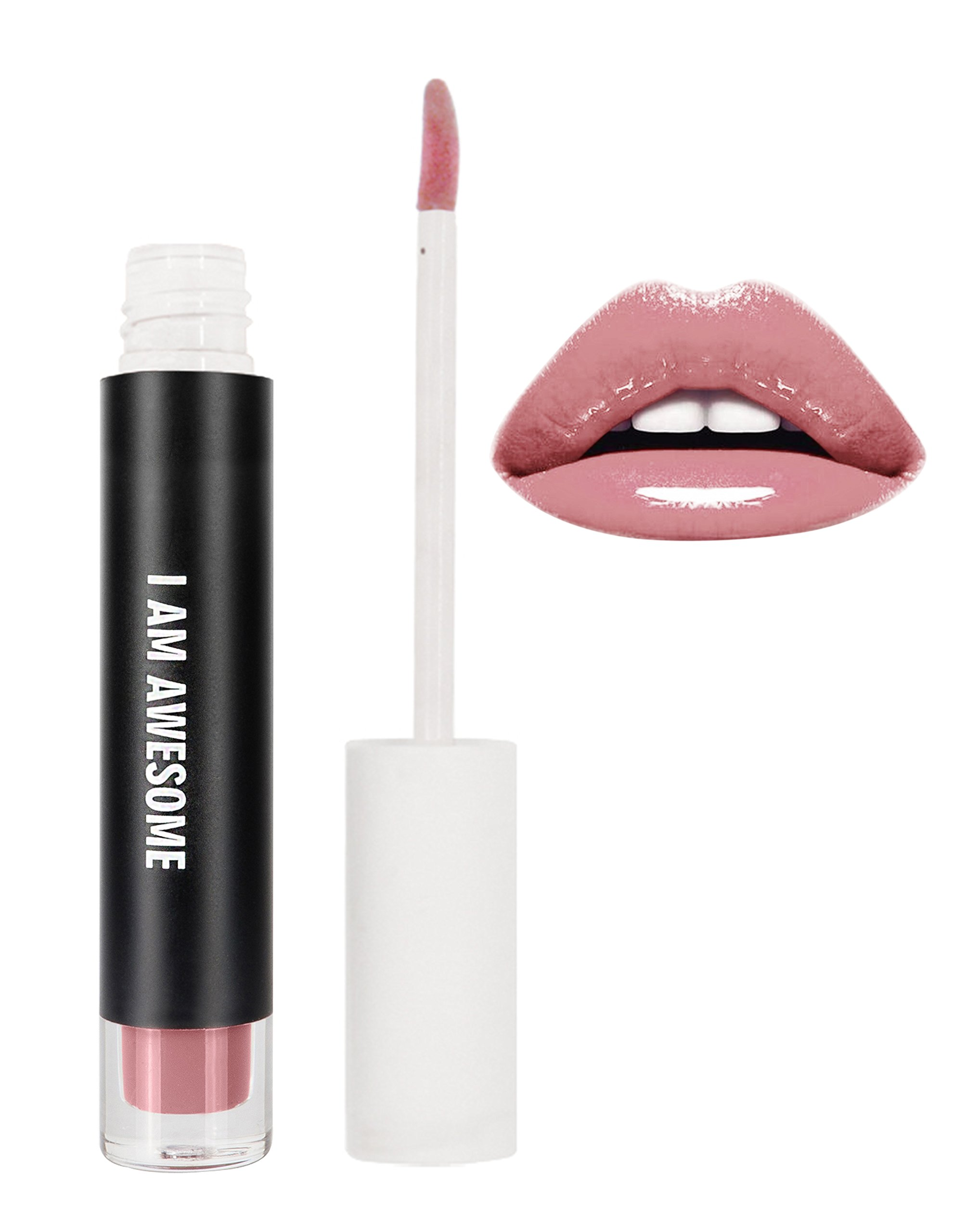 RealHer I Am Awesome Deep Nude- Lip Plumping Gloss, Shiny Finish, Fuller Lip Volume! No Pain Formula.