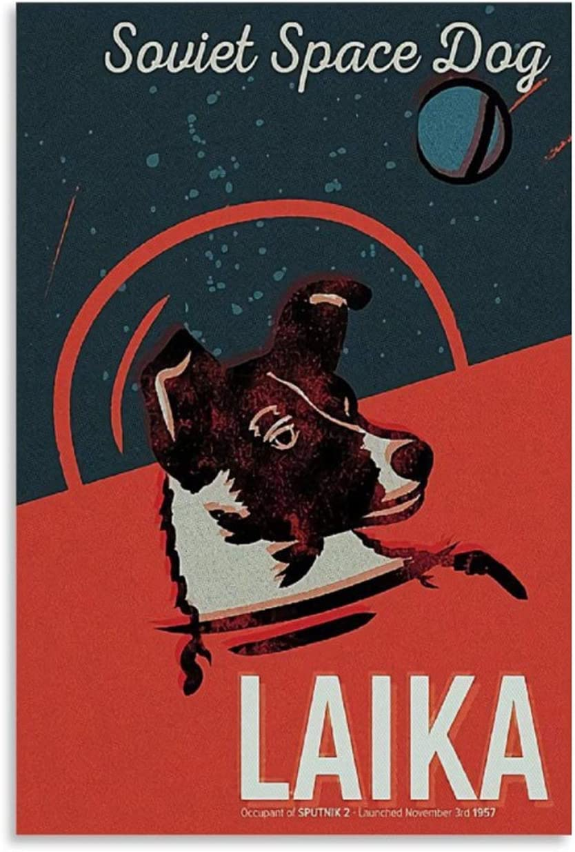 Vintage Posters Soviet Union Space Rocket Dog Lycra CCCP Gagarin Canvas Art Poster and Wall Art Picture Print Modern Family Bedroom Decor Posters 12x18inch(30x45cm)