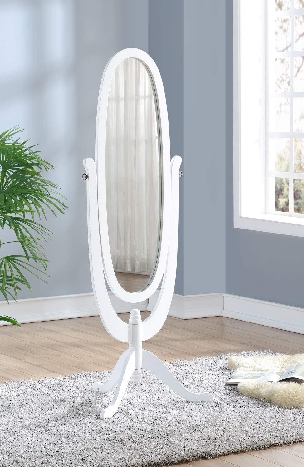 None Solid Wood Cheval Floor Oval Mirror with 3 Legs, White Finish