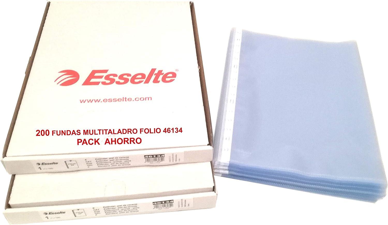 Fundas Multitaladro Esselte Folio ExtraResistentes Pack Ahorro 200 Hojas Multitaladro para 50 folios o más dentro de cada una