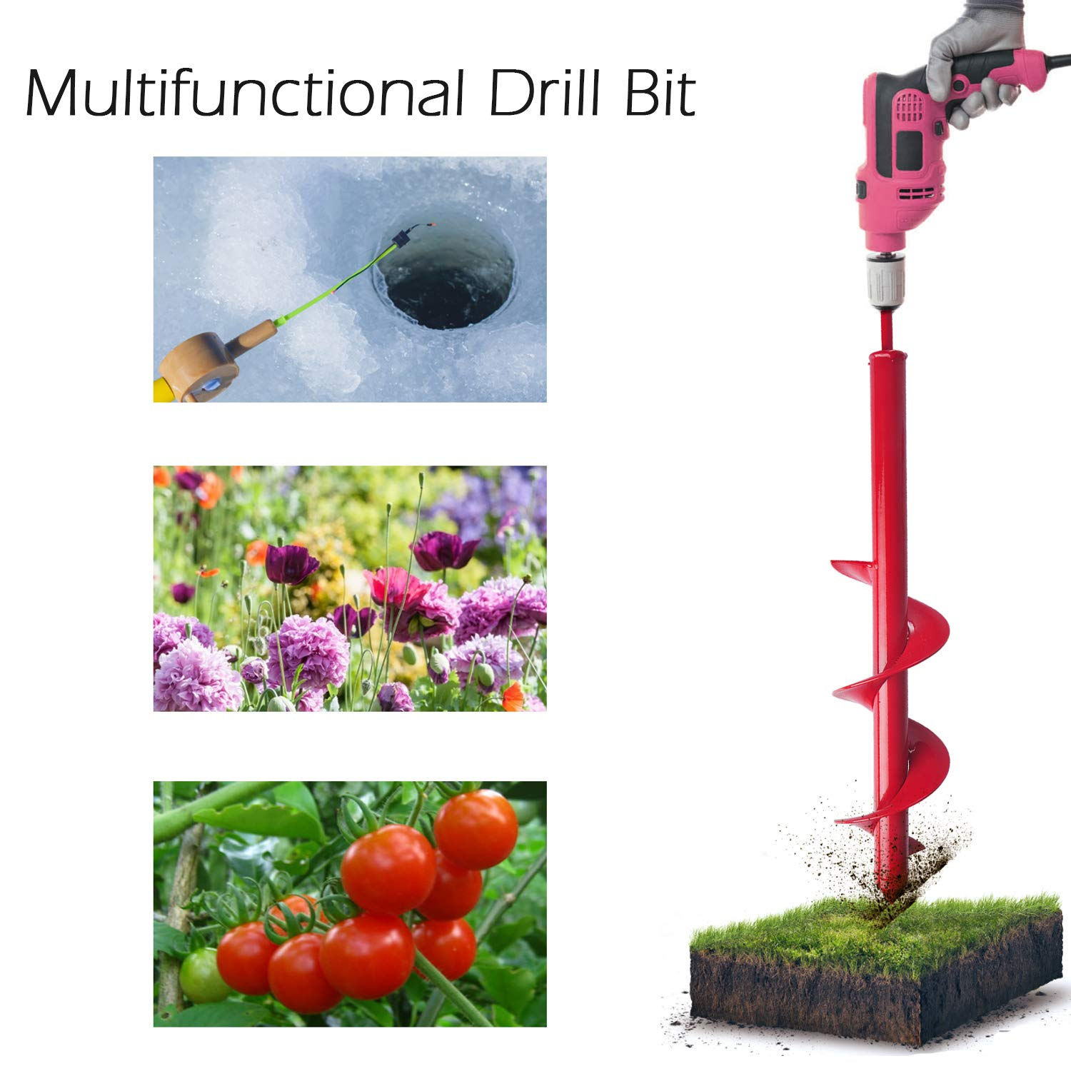 Bulb /& Bed Planting Auger Digger 3.5 x 17 inch for 3//8 Hex Drive Drill Treeland Garden Auger Drill Bit for Planting Garden Genie Gloves with 8 Claws for Digging Spiral Hole Drill Planter