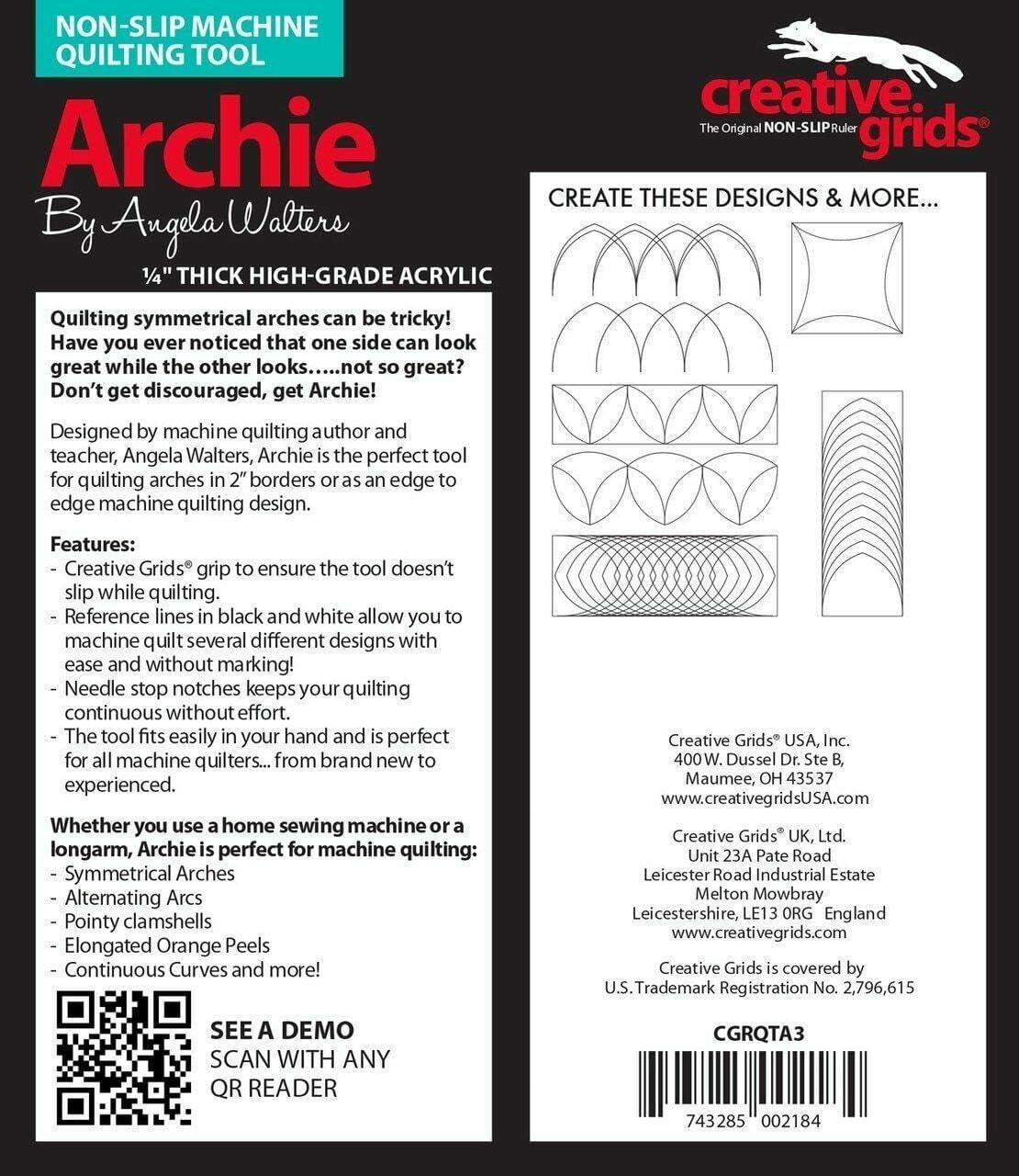 Creative Grids Machine Quilting Tool Ruler Template - Archie CGRQTA3