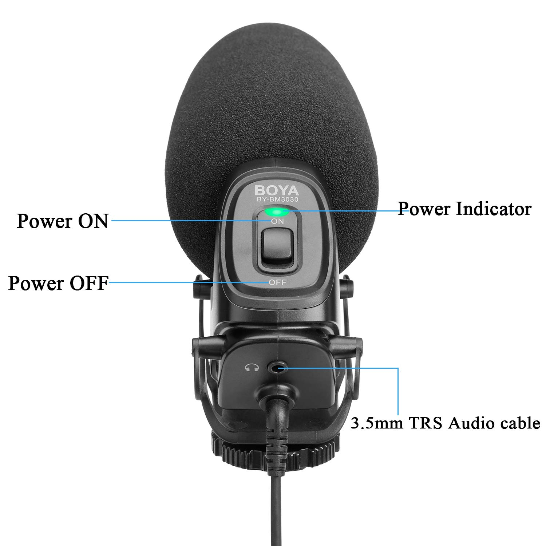 BOYA BY-BM3030 Micrófono de condensador de escopeta en la cámara Micrófono Supercardioide integrado Montaje de choque Enchufe de 3,5 mm con parabrisas Bolsa de transporte para cámaras DSLR Videocámaras Grabadoras de audio