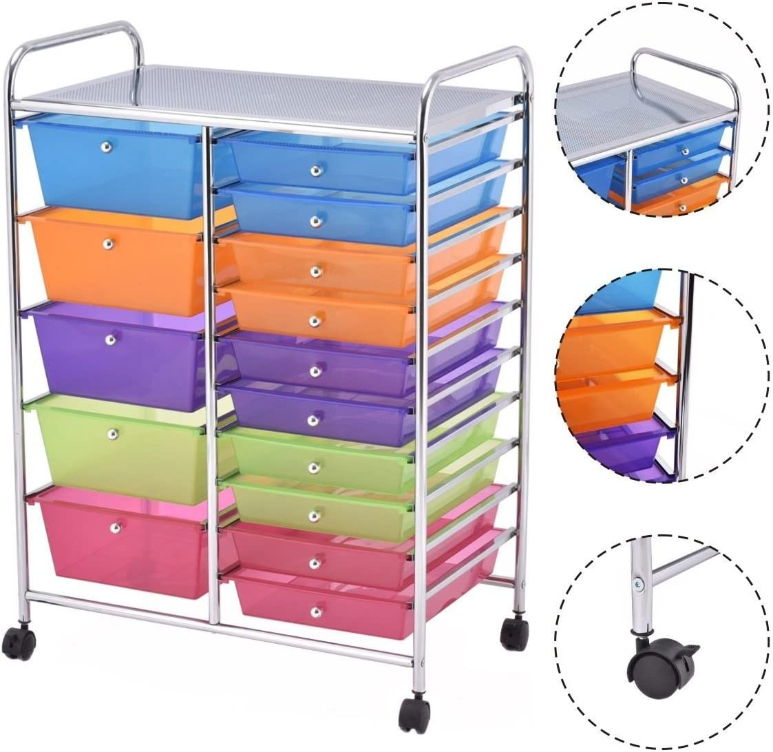 Home Office School Storage Cart Paper Scrapbook White Rolling Drawer Cart for Tools TUFFIOM 15-Drawer Organizer Cart