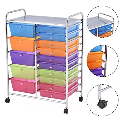 Superbe Multi Purposed Rolling Storage Cart Organizer With 15 Drawers (Multi Color)