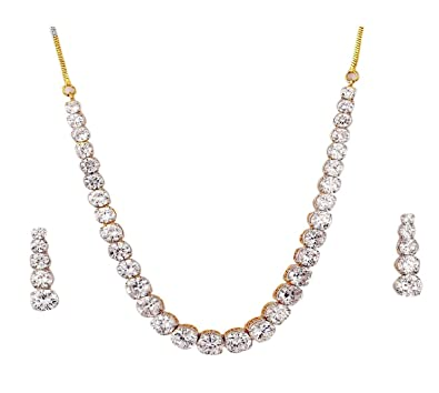 M Gold Cubic Zirconia Choker Necklace Set For Women <span at amazon