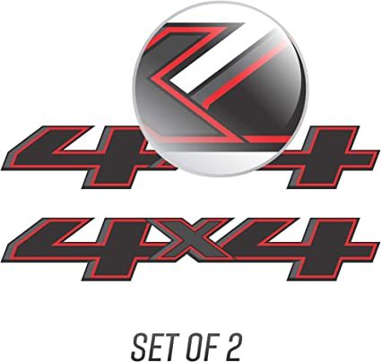 2 RED 4x4 Off road Decal Sticker Ford GMC Chevy ram 1500 2500 f150 f250