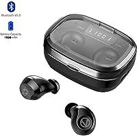 Auriculares Bluetooth Deportivos, WINSUNY Audifonos Inalámbricos Bluetooth 5.0 con Pantalla LCD Estéreo Hi-Fi Sonido IPX7 Resistentes al Agua, Auriculares Inalámbricos In-Ear con Carga 1600mAh Portátil, Micrófono Incorporado para iOS y Android