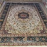 Yilong 9 x12  Handmade Silk Rugs Classic Oriental Tabriz Persian Floral Medallion with Shah Abbassi Design Hand...