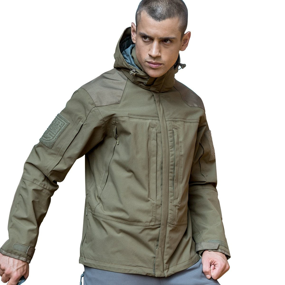 Free Soldierアウトドアメンズジャケット防水性通気性暖かいタクティカルジャケットフリースコート B01M66GL5M  泥 Large