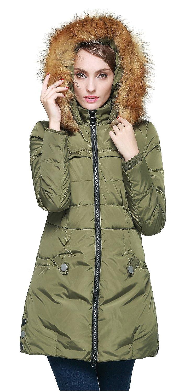 Green goldlay Women's Down Jacket with Faux Fur Trim Hood