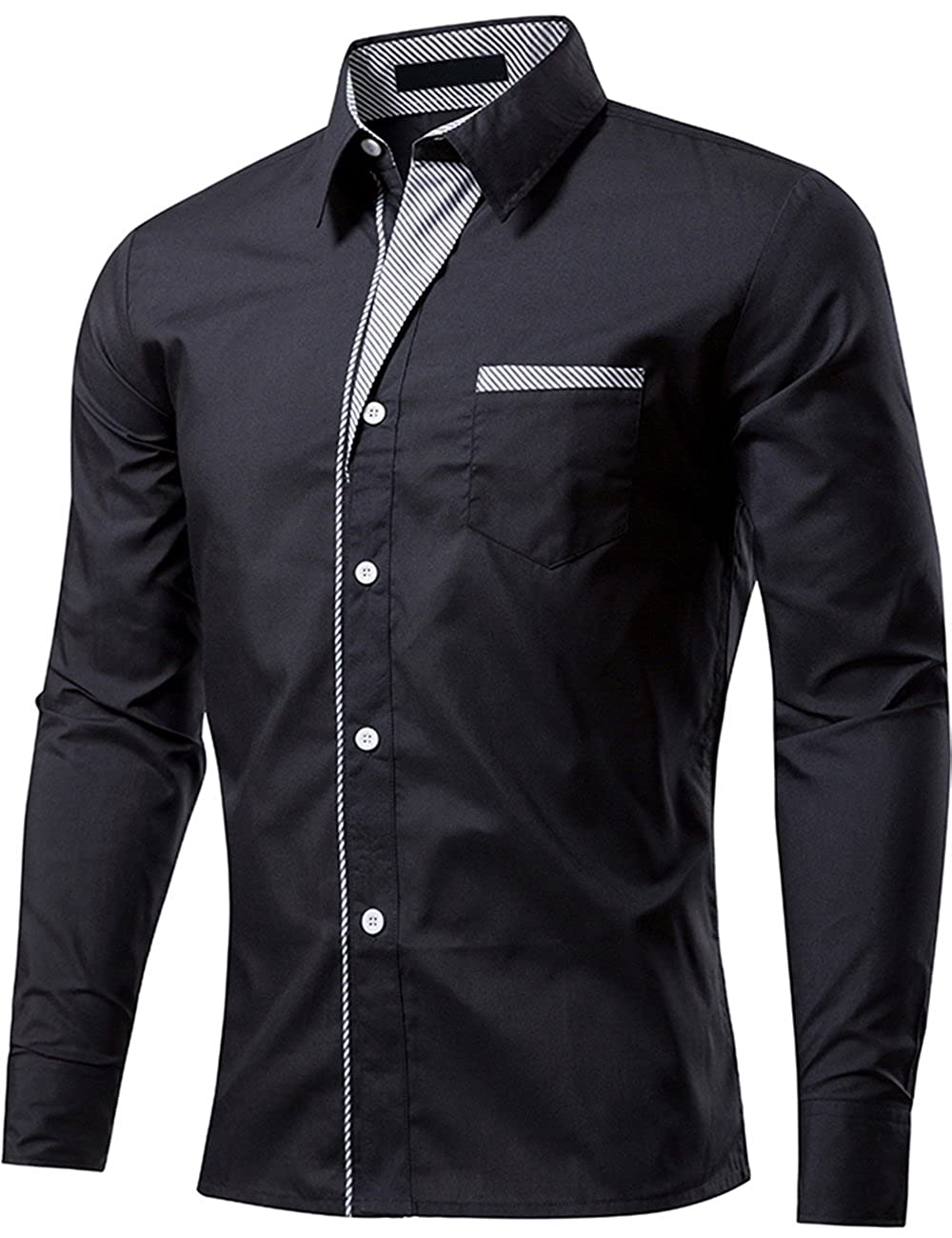 546c131860 STYLE:Mens Summer Fashion Long Sleeve Fitted Dress Tops Shirts(Striped-Trim  Contrast) FEATURE:This Stylish Men's Collared Dress Shirt Comes in a Modern  Fit ...