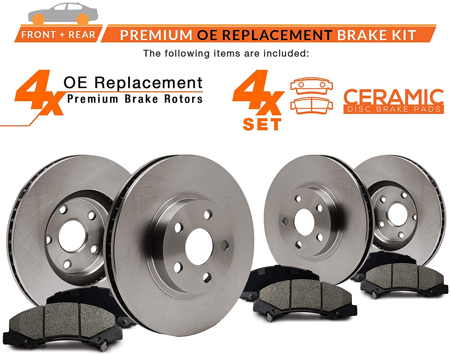KT007543-1 Max Brakes Front /& Rear Premium OE Rotors and Ceramic Pads Brake Kit