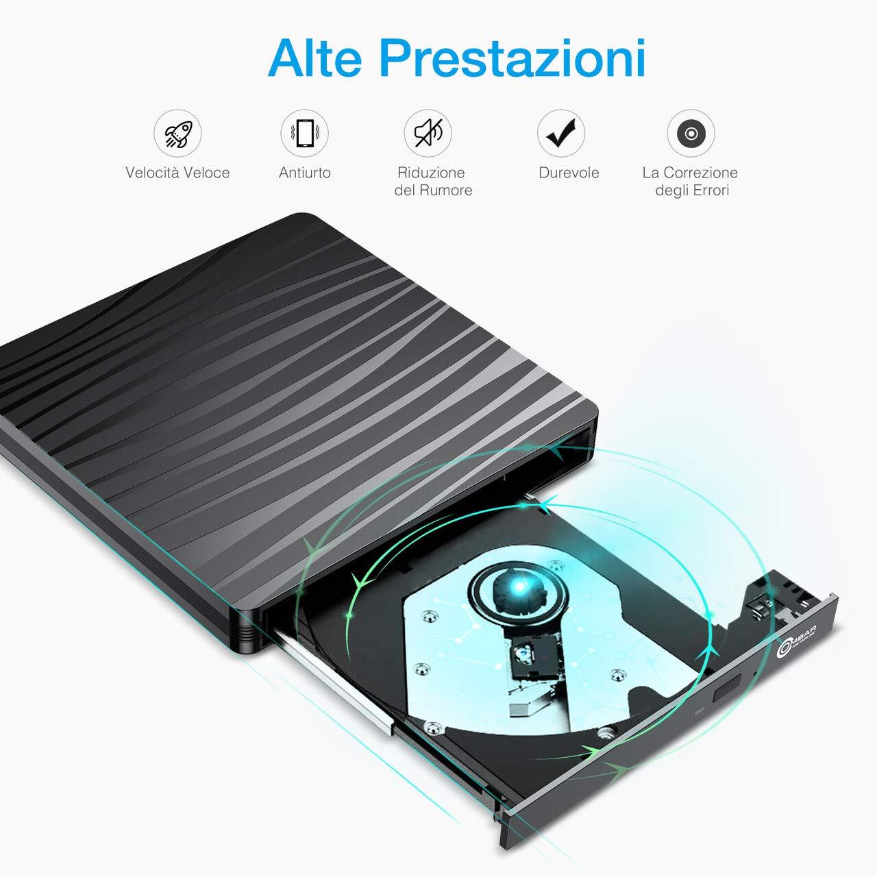 OMBAR Unità Ottica Esterna CD DVD , USB 3.0 e Tipo-C Dual Port Adatto per Laptop, Desktop, Mac, Macbook, IOS, Windows 10/8.1/7 e Linux, Nero
