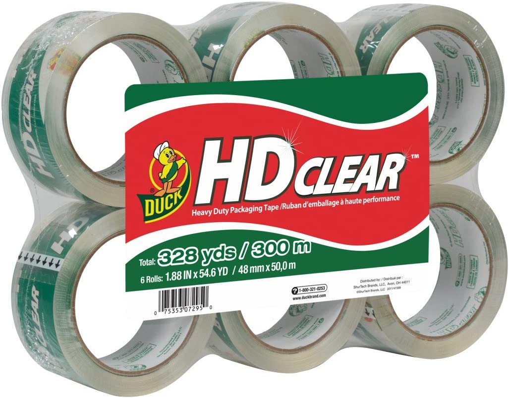 Duck HD Clear Heavy Duty Packing Tape Refill, 6 Rolls, 1.88 Inch x 54.6 Yard, (441962) : Packing Tape : Office Products