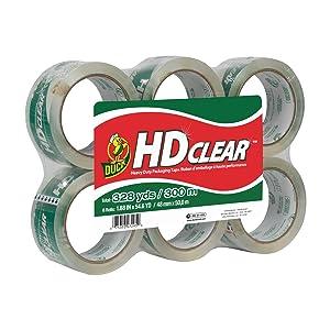 Duck HD Clear Heavy Duty Packaging Tape Refill, 6 Rolls, 1.88 Inch x 54.6 Yard, (441962)