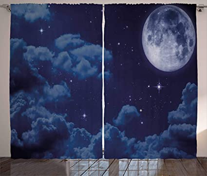 Amazon Com Ambesonne Night Sky Curtains Cartoon Anime Scene