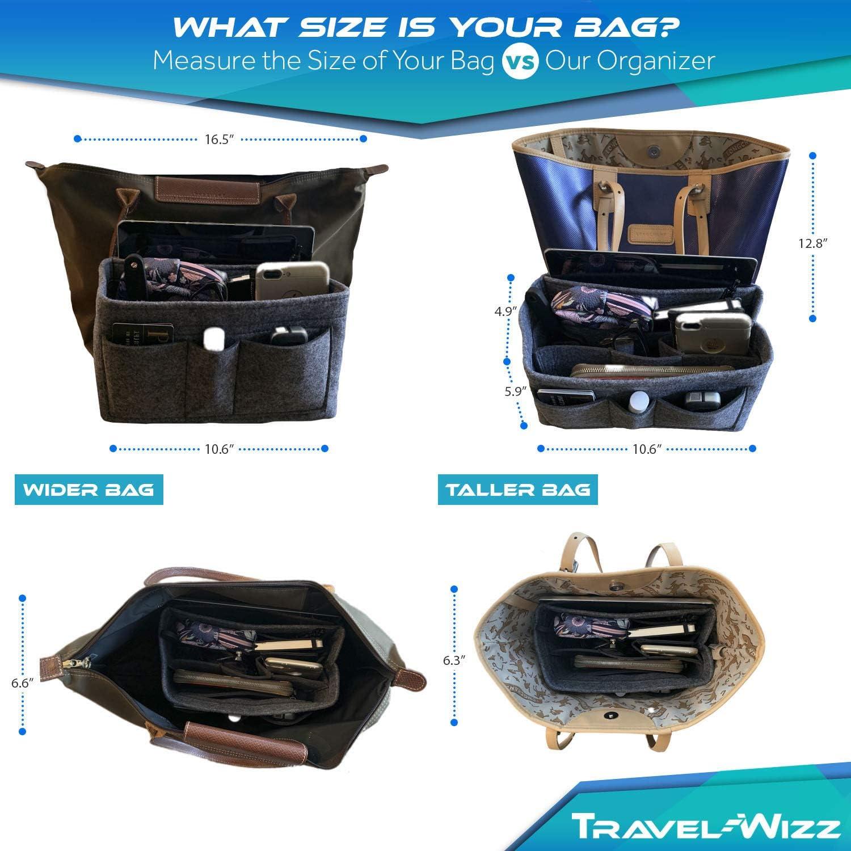 Handbag Organizer purse organizer insert with inner zipped pocket 2in1 felt
