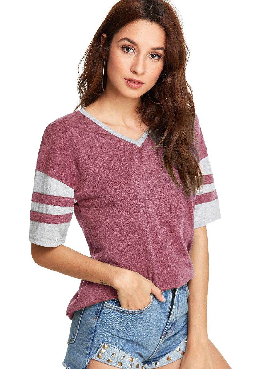 SweatyRocks Baseball Tops For Women Summer Short Sleeve Color Block Tee Shirt Blouse Red M by SweatyRocks