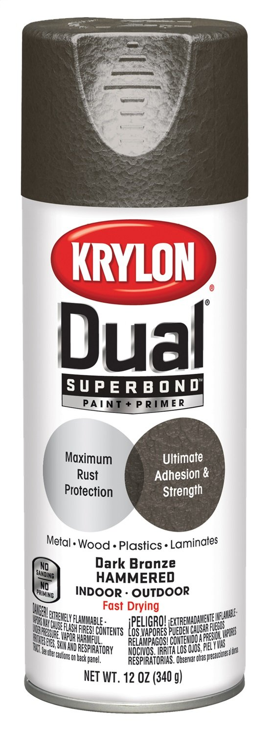 Krylon K08844000 'Dual' Superbond Paint and Primer Hammered Finish, Dark Bronze, 12 Ounce by Krylon