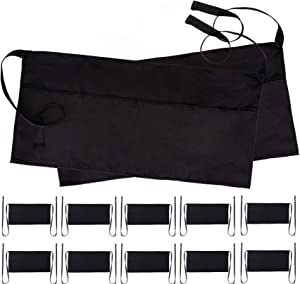 White Classic 12Pack Server Waist Aprons - Professional Waitress Kitchen Restaurant Half Apron for Men Women with 3 Pockets | Black | Bulk 12 Pack