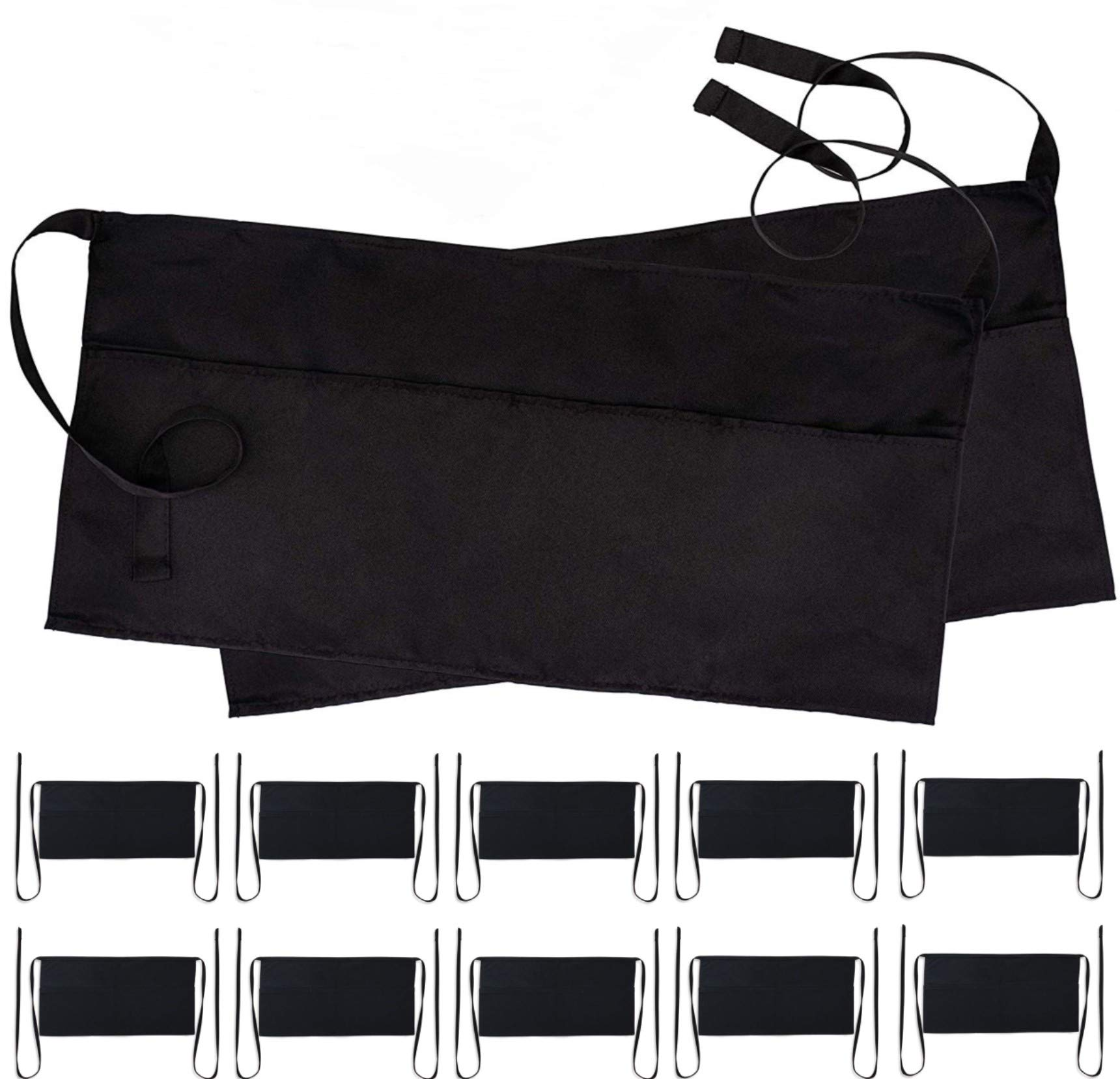 Black Server Waitress Waist Aprons - Set of 12 Professional Kitchen Restaurant Bistro Half Aprons in Bulk for Men Women with 3 Pockets - 12 Pack by White Classic