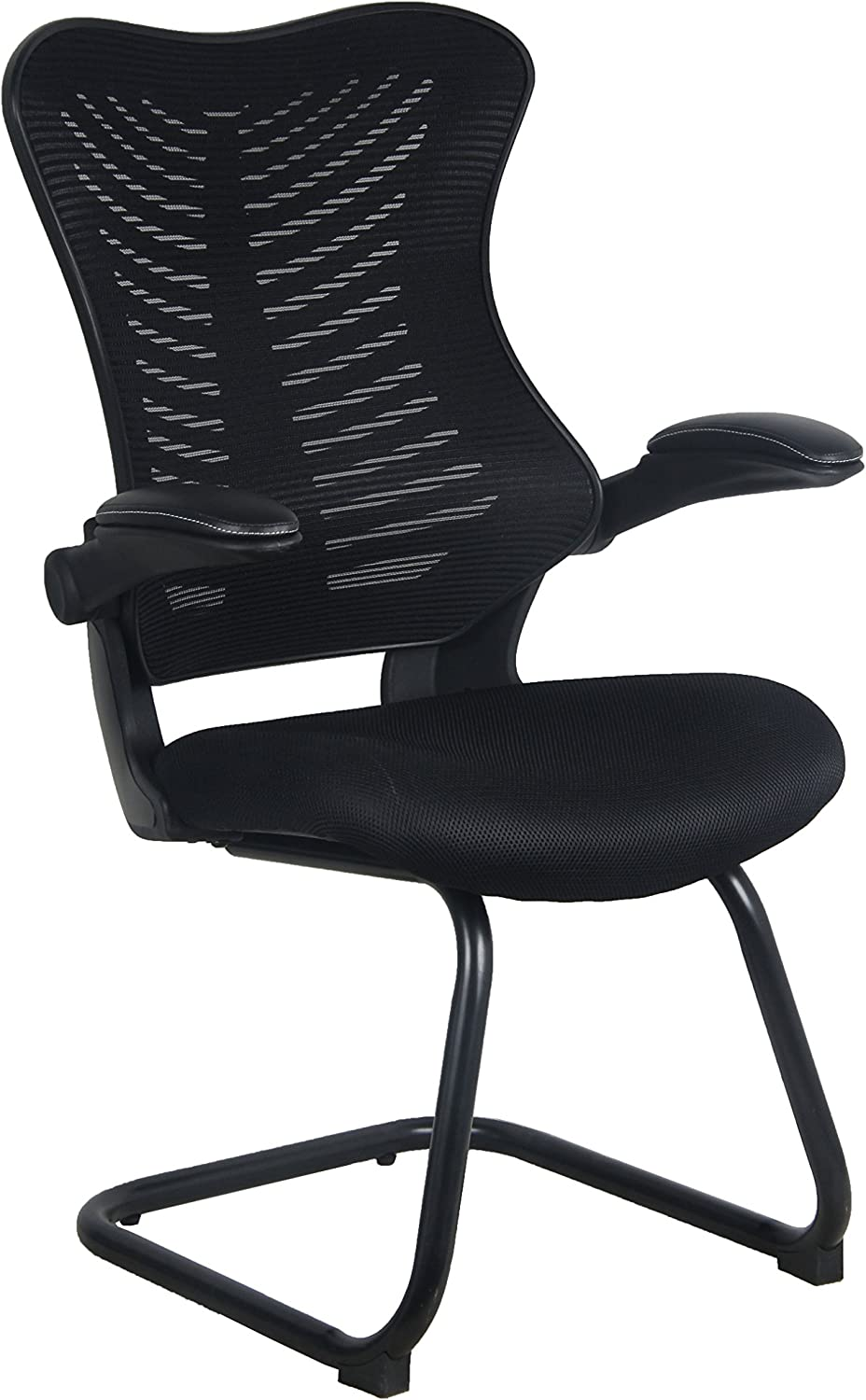 Office Factor Reception Guest Chairs with Flip Up Arms – Comfortable Mesh, Ergonomic Contour, Flippable Armrests – Modern Convertible Furniture for Visitors, Meeting Groups (Black)