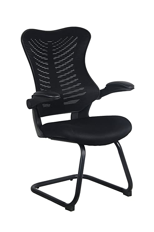 Office Factor Reception Guest Chairs with Flip Up Arms – Comfortable Mesh,  Ergonomic Contour, Flippable Armrests – Modern Convertible Furniture for ...