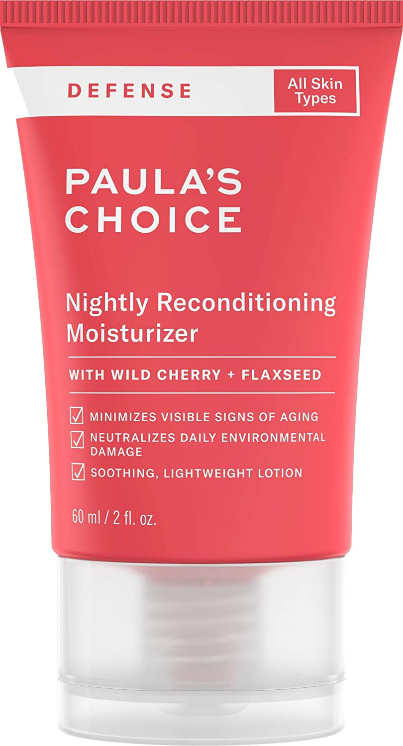 Paula's Choice DEFENSE Nightly Reconditioning Moisturizer w/Wild Cherry, Flaxseed, Neem, Sunflower Seed & Marula Oil, Anti-Pollution Night Cream, 2 oz