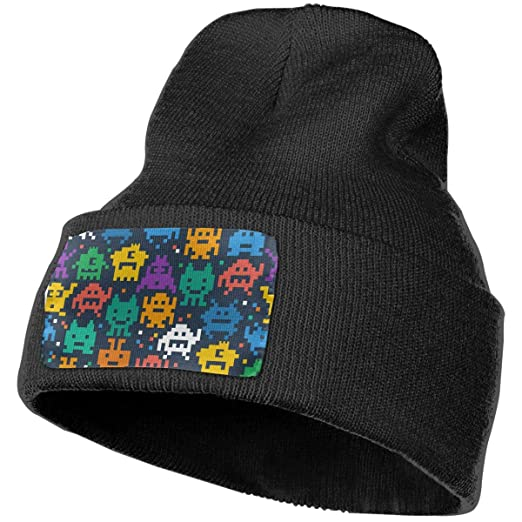6f96f7ab2aa Pixelated Monster Beanie Hat Winter Solid Warm Knit Unisex Ski Skull Cap  Black