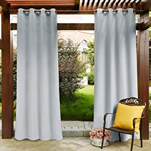 PONY DANCE Outdoor Indoor Curtain - Fade Resistant Drapery Panel with Grommet Rust Proof for Patio Privacy Waterproof Fabric, 52-inch Wide by 108-inch Long, Greyish White, 1 PC