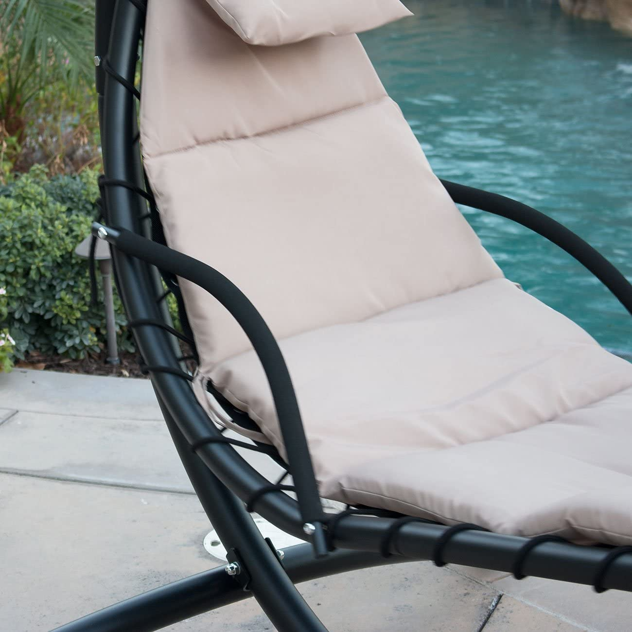 Amazon Com Belleze Hanging Chaise Beige Lounger Chair Arc Stand Canopy Air Porch Swing Hammock Chair Kitchen Dining