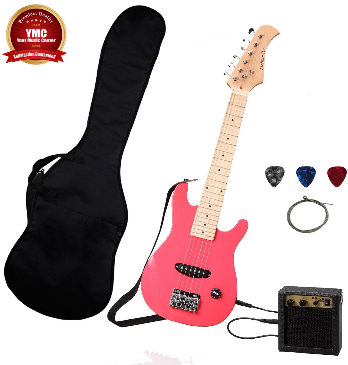 Stedman Kid Series Electric Guitar Pack with 5-Watt Amp, Gig Bag, Strap, Cable, Strings, Picks, and Wrench - Pink YMC EG31-PK-5W