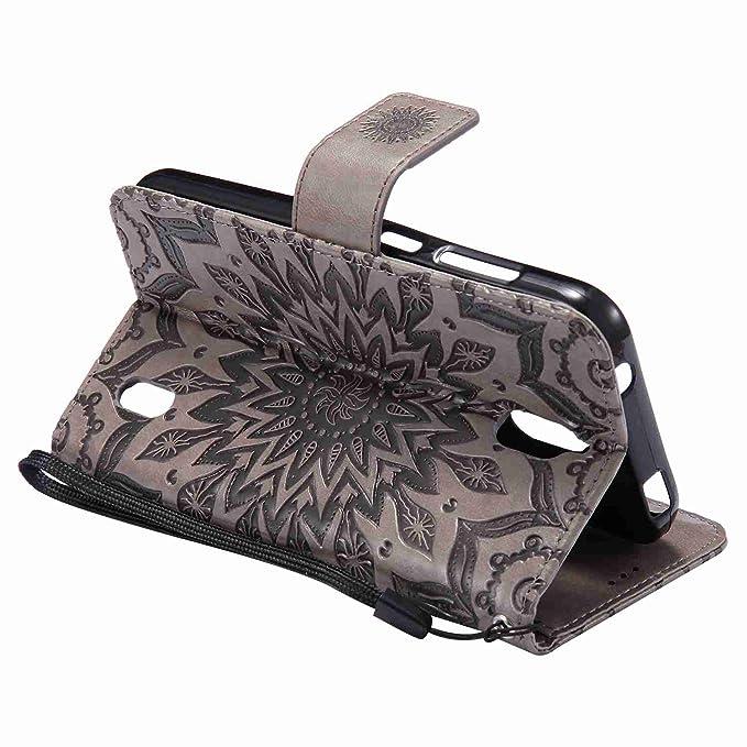 pinlu® Flip Funda de Cuero para Huawei Y625 Carcasa con Función de Stent y Ranuras con Patrón de Girasol Cover (Gris)