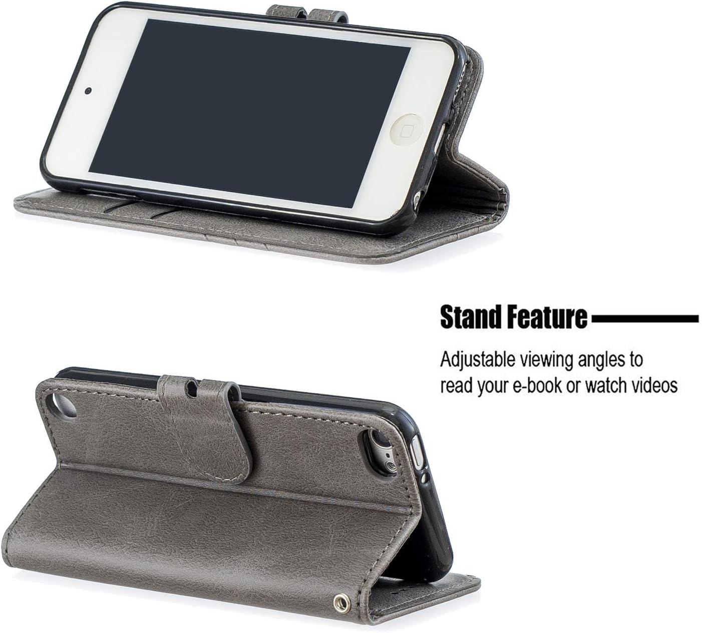 Portefeuille /Étui en Cuir Synth/étique Fonction Stand Case Housse Folio /à Rabat Compatible avec Apple iPod Touch 7//6//5 Tosim Coque iPod Touch 7 2019//Touch 6 TOHEX120054 Bleu