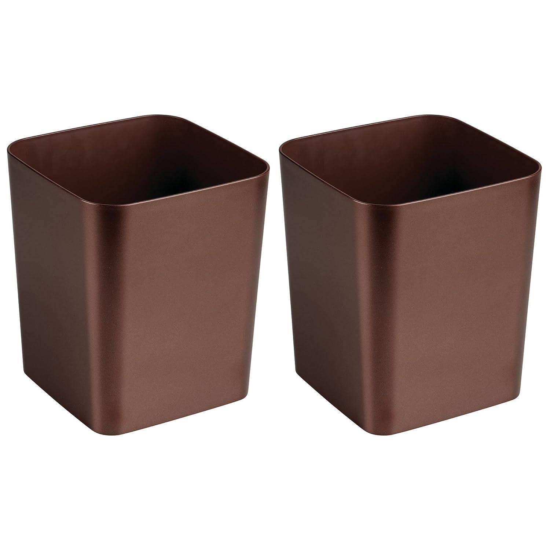 mDesign Set da 2 eleganti pattumiere differenziata per bagno, ufficio o cucina – Moderni cestini spazzatura per carta, raccolta plastica e altri rifiuti – bronzo ufficio o cucina - Moderni cestini spazzatura per carta MetroDecor