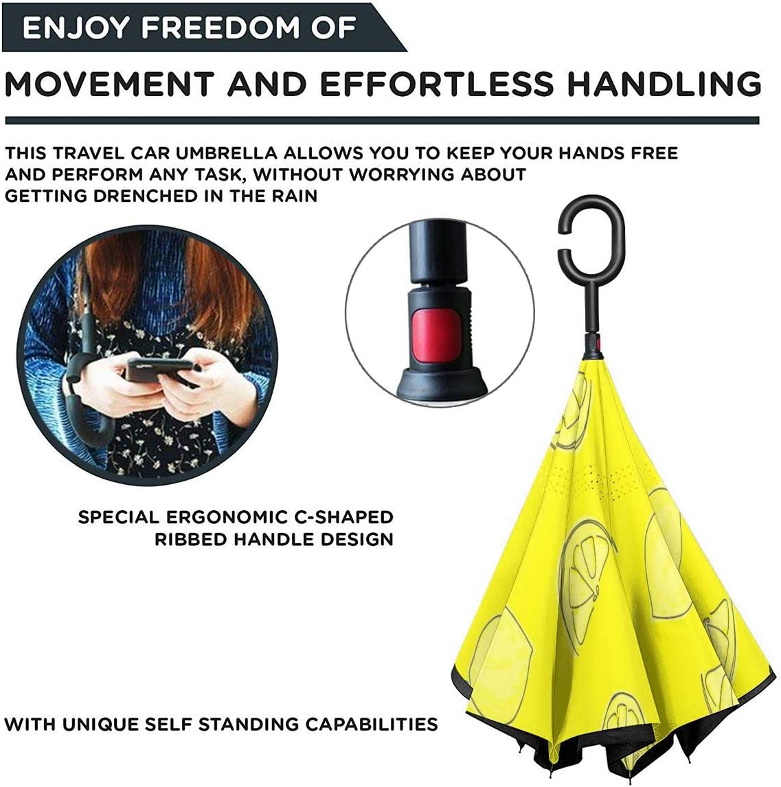 Self Stand Upside Down with C-Shaped Handle PYFXSALA Yellow Lemon Windproof Inverted Umbrella Double Layer UV Protection Folding Reverse Umbrella for Car Rain Outdoor