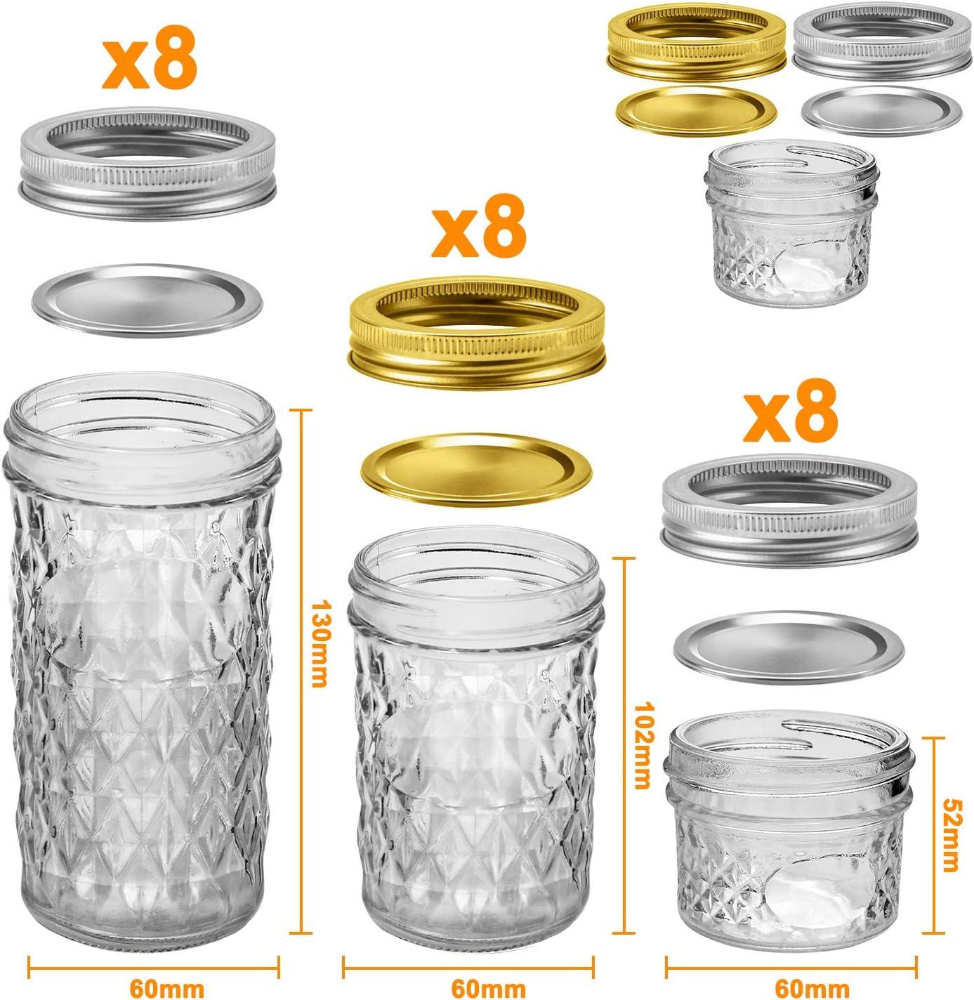 4 OZ x 4 DIY Magnetic Spice Jars Mason Jars Canning Jars 8 OZ x 4 12 OZ x 4 Wedding Favors Ideal for Jam Honey 12 Pack Glass Jars Jelly Jars With Regular Lids Shower Favors Baby Foods