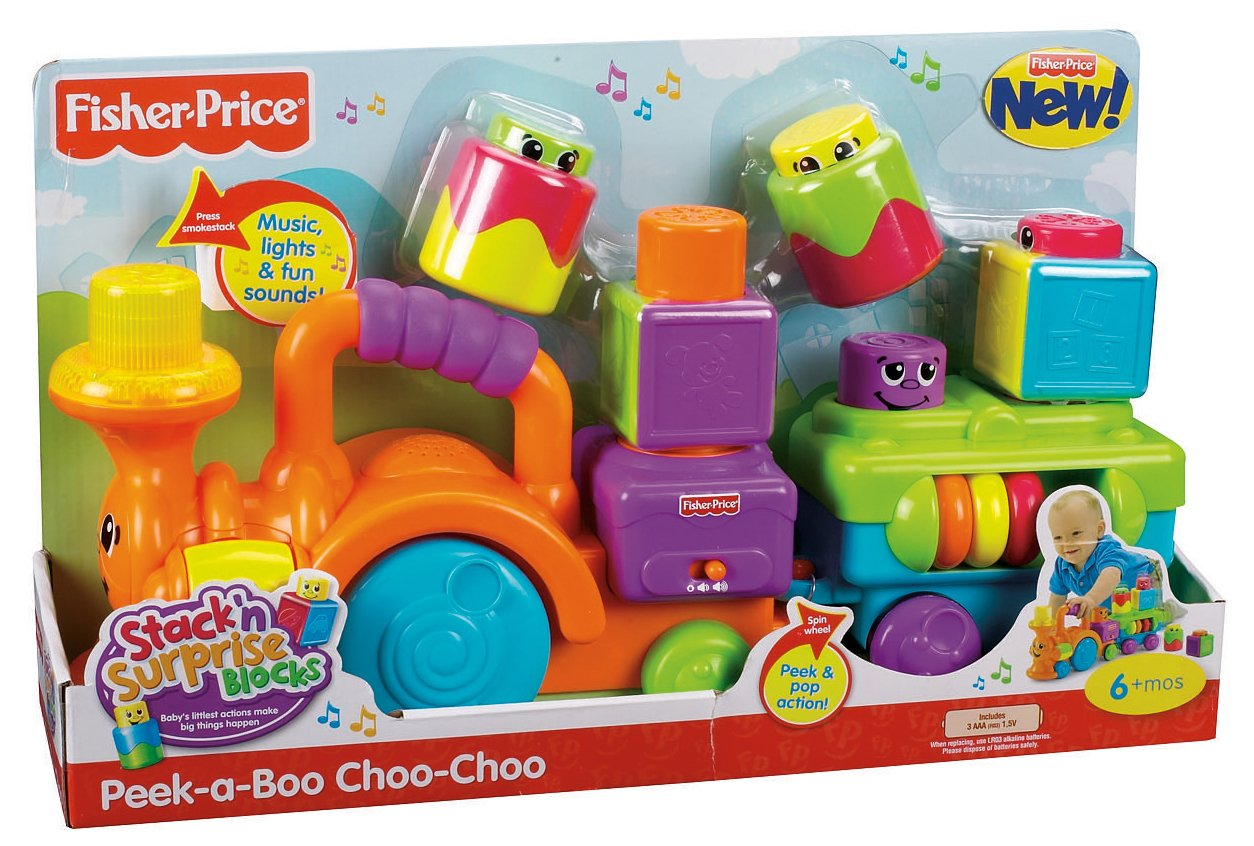 Fisher-Price Peek-a-Boo Stack 'n Surprise Blocks Choo-Choo