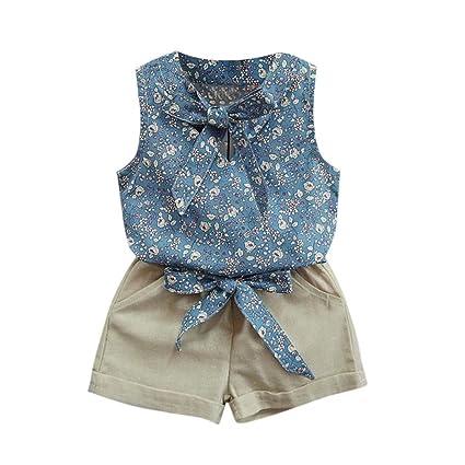 Ropa niña Bebé Verano ❤ Amlaiworld Niños pequeños Bebé niñas Floral Bowknot chaleco camiseta +