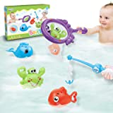 Dwi Dowellin Bath Toys Fishing Games with Fish Net BPA Free No Mold Squirt Fishes Crab Water Table Pool Bath Time Bathtub Toy
