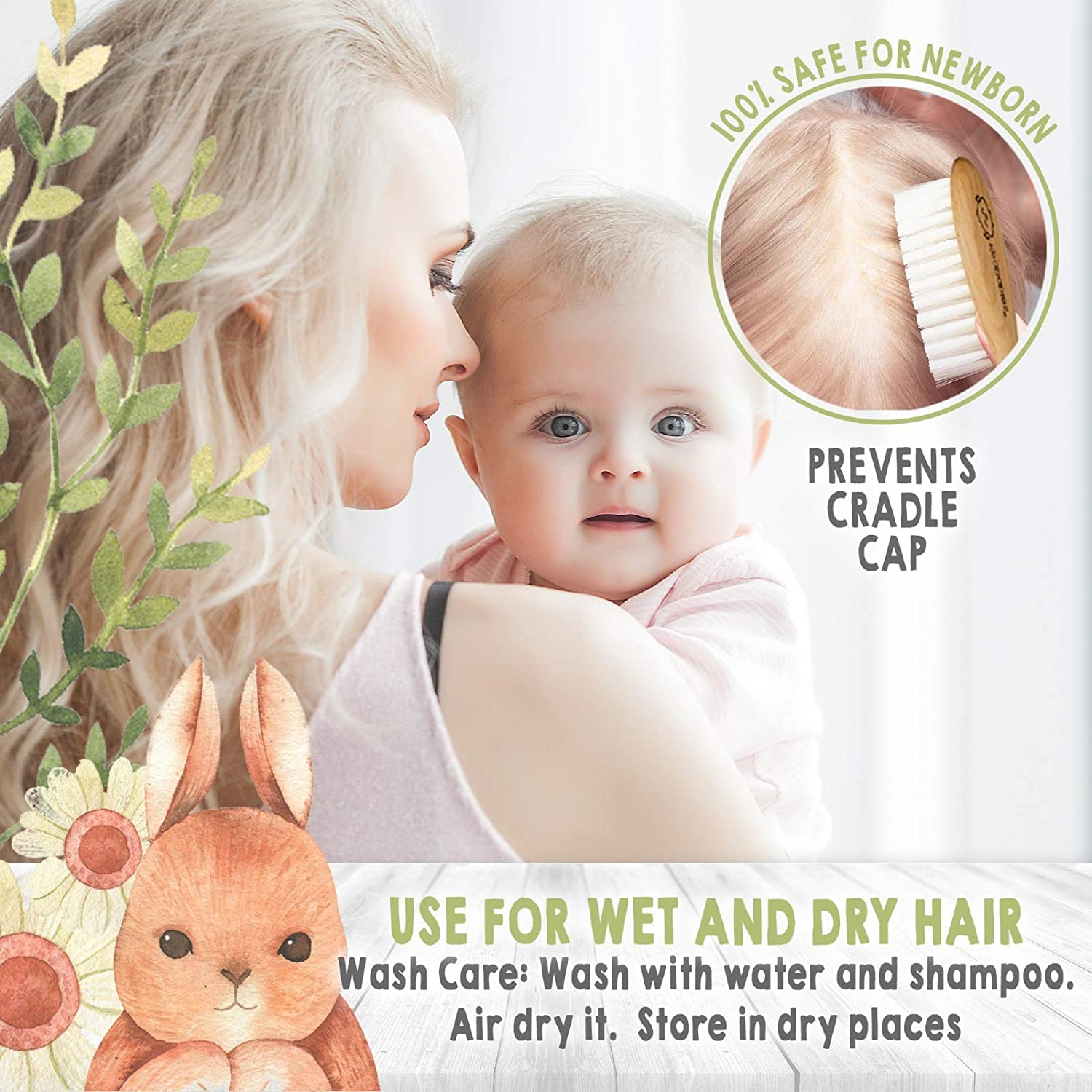 Baby Hair Brush and Comb Set for Newborn - Natural Wooden Hairbrush with Soft Goat Bristles for Cradle Cap - Perfect Scalp Grooming Product for Infant, Toddler, Kids - Baby Registry Gift