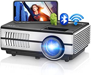 Portable Bluetooth Projector with WiFi Android 7.1 OS,Smart HDMI Projector Wireless Airplay to Smart Phone iOS Windows Devices Support Zoom 4D Keystone Correction for Laptop USB Stick PS4 PC Mac