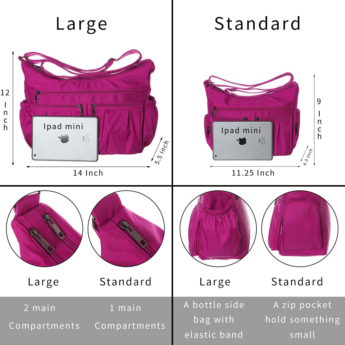 TENXITER Multi Pocket Shoulder Bag Corss-body Purse Waterproof Nylon Travel Handbags for Women